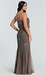 Image of beaded Adrianna Papell long bridesmaid dress. Style: HOW-APPBM-40134 Back Image