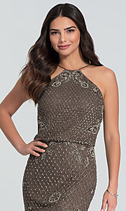 Image of beaded Adrianna Papell long bridesmaid dress. Style: HOW-APPBM-40134 Detail Image 3