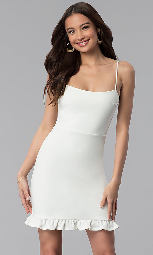 Image of short day-to-night white graduation party dress. Style: JTM-JD8354 Front Image