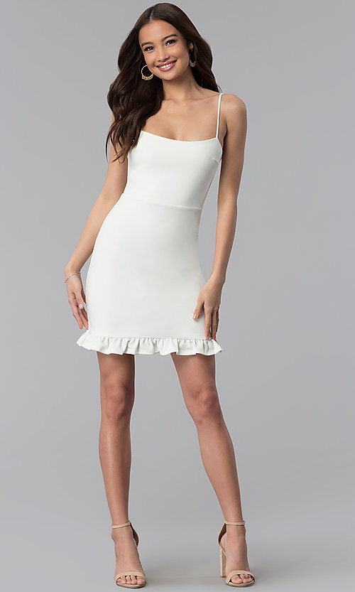 Image of short day-to-night white graduation party dress. Style: JTM-JD8354 Detail Image 3