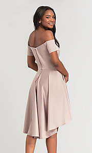 Image of off-shoulder short bridesmaid dress by Kleinfeld. Style: KL-200048 Detail Image 1