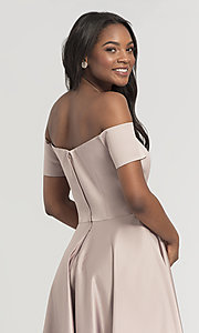 Image of off-shoulder short bridesmaid dress by Kleinfeld. Style: KL-200048 Detail Image 4
