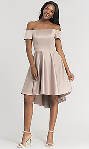 Image of off-shoulder short bridesmaid dress by Kleinfeld. Style: KL-200048 Detail Image 5