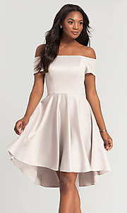 Image of off-shoulder short bridesmaid dress by Kleinfeld. Style: KL-200048 Front Image
