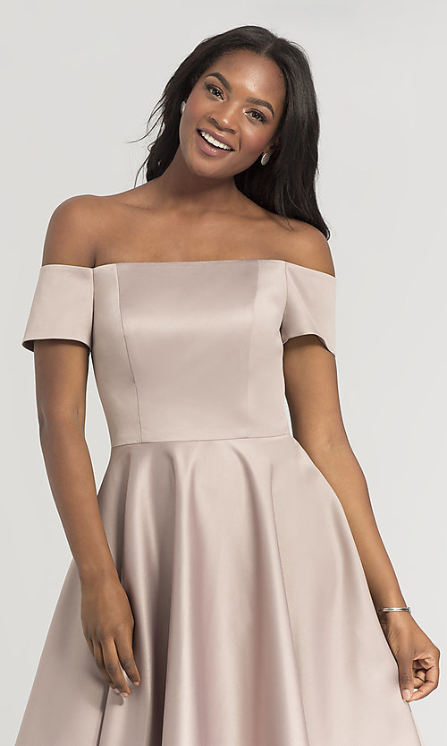 Image of off-shoulder short bridesmaid dress by Kleinfeld. Style: KL-200048 Detail Image 3