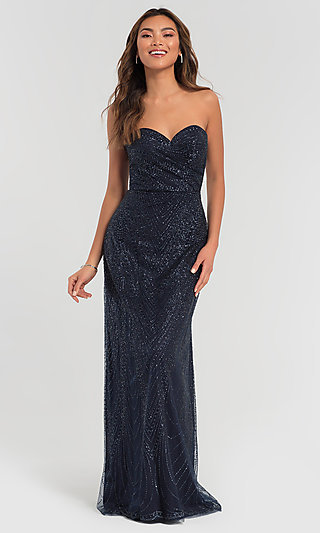 Long Glitter Strapless Kleinfeld Bridesmaid Dress
