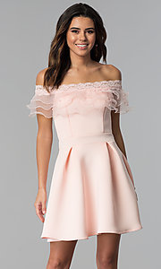 Image of short off-the-shoulder party dress with ruffle. Style: DC-46290 Front Image