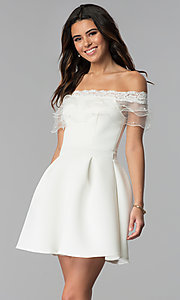 Image of short off-the-shoulder party dress with ruffle. Style: DC-46290 Detail Image 3