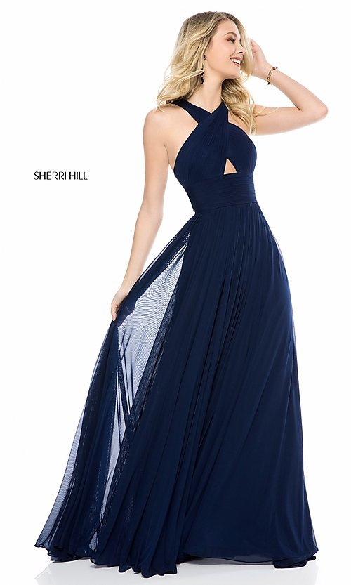 Image of high-neck Sherri Hill long prom dress. Style: SH-51903 Front Image