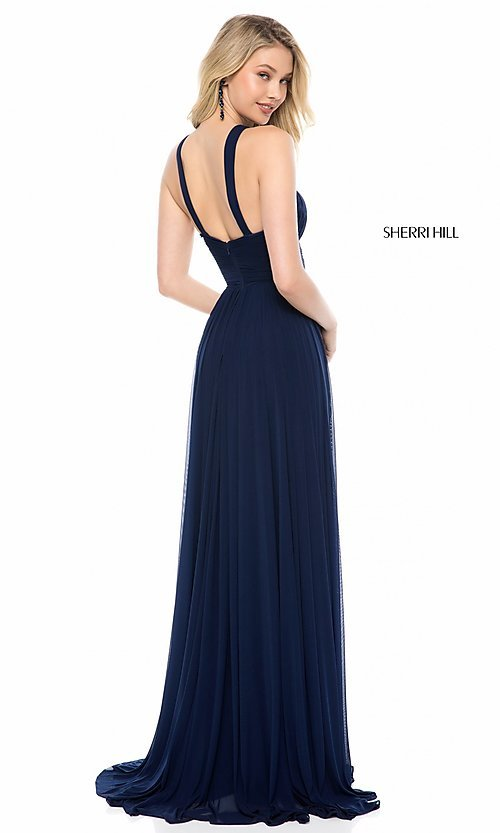Image of high-neck Sherri Hill long prom dress. Style: SH-51903 Back Image