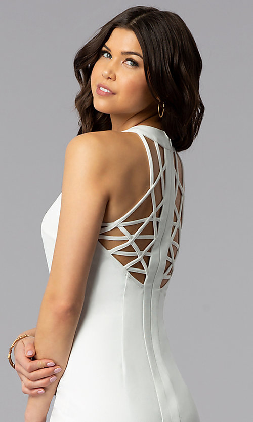 Image of white short graduation dress with multi-strap back. Style: AC-DX22076B-W Detail Image 2