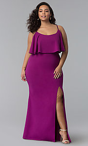 Image of long plus-size wedding guest dress with flounce. Style: SY-IXD-5476VP Front Image