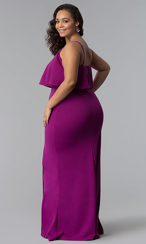 Image of long plus-size wedding guest dress with flounce. Style: SY-IXD-5476VP Back Image