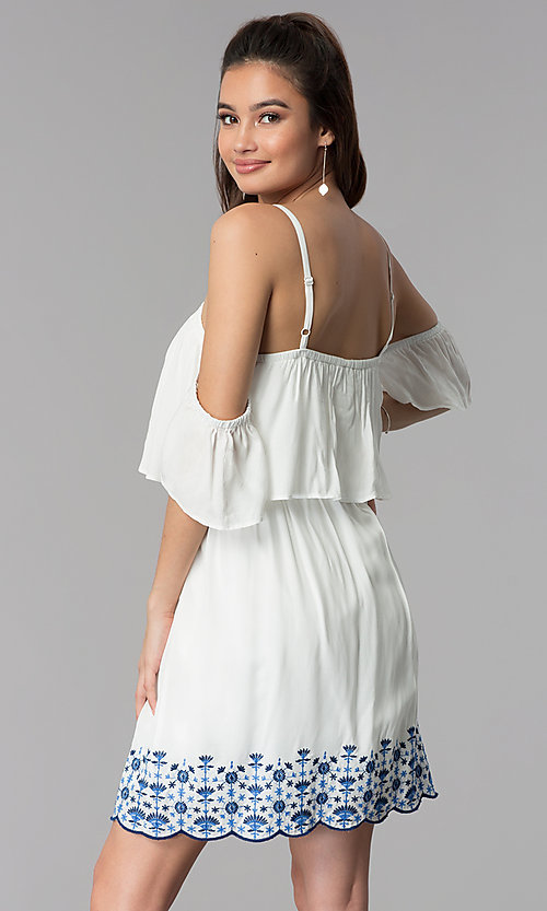 Image of short white casual embroidered-hem dress. Style: AS-A4967-1G11 Back Image