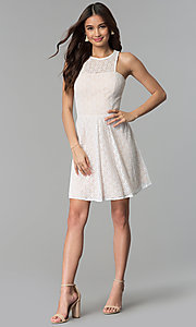 Image of ivory short lace a-line graduation party dress. Style: JU-10739 Detail Image 3