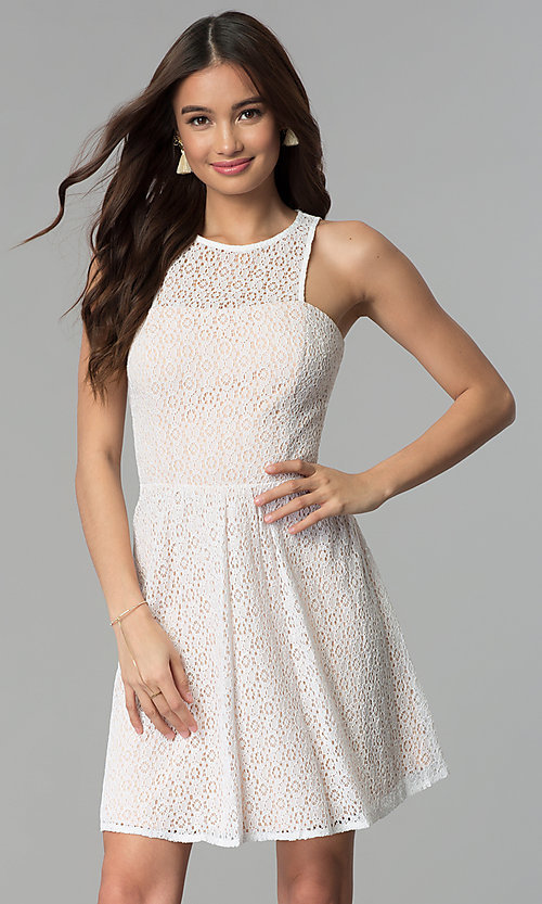 Image of ivory short lace a-line graduation party dress. Style: JU-10739 Front Image