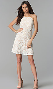 Image of short lace ivory and nude graduation dress. Style: JU-10779 Detail Image 3