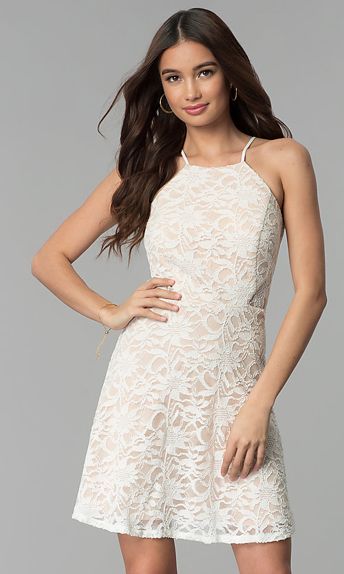 Image of short lace ivory and nude graduation dress. Style: JU-10779 Front Image