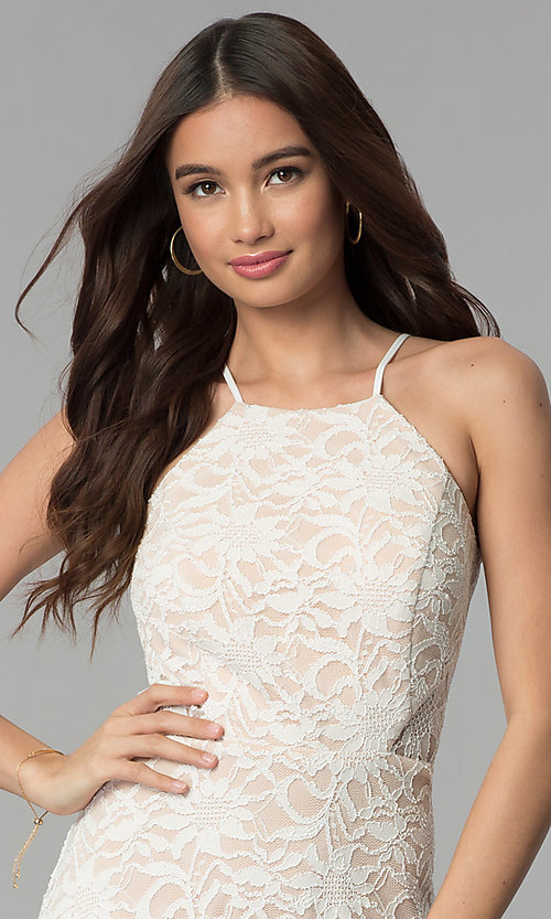 Image of short lace ivory and nude graduation dress. Style: JU-10779 Detail Image 1