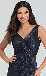 Image of long Kleinfeld sequin bridesmaid dress with slit. Style: KL-200097 Detail Image 5