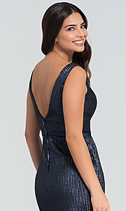 Image of long Kleinfeld sequin bridesmaid dress with slit. Style: KL-200097 Detail Image 6