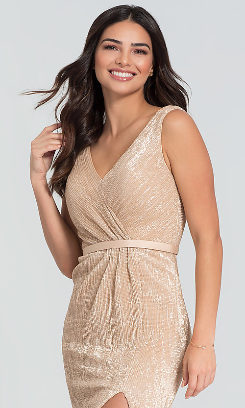 Image of long Kleinfeld sequin bridesmaid dress with slit. Style: KL-200097 Detail Image 1