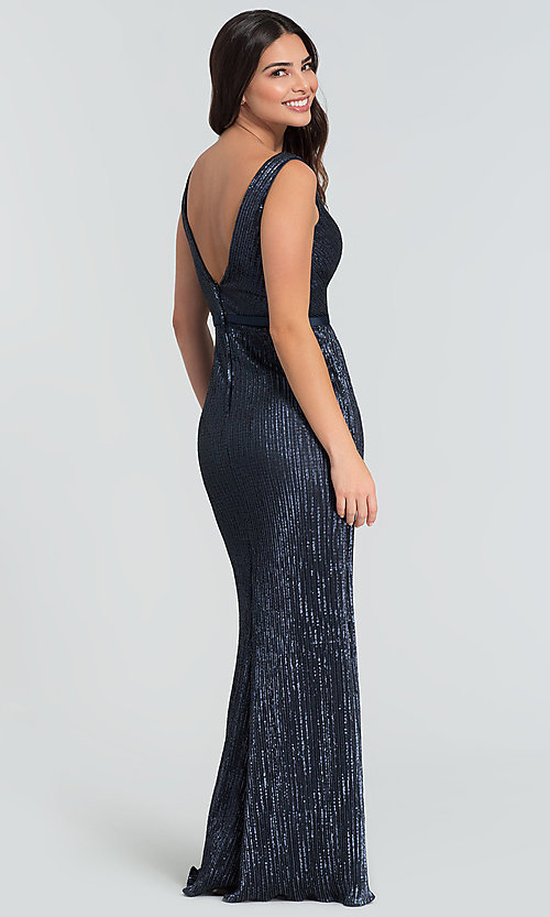 Image of long Kleinfeld sequin bridesmaid dress with slit. Style: KL-200097 Detail Image 4