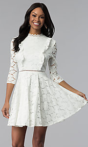 Image of white lace 3/4-sleeve high-neck graduation dress. Style: CT-3623KK8BT1 Front Image