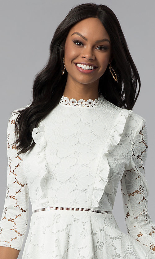 Image of white lace 3/4-sleeve high-neck graduation dress. Style: CT-3623KK8BT1 Detail Image 1