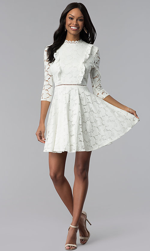Image of white lace 3/4-sleeve high-neck graduation dress. Style: CT-3623KK8BT1 Detail Image 3