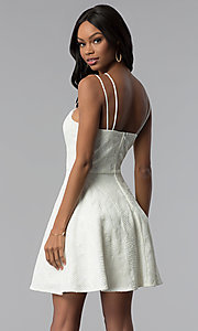 Image of multi-strap short lace graduation party dress. Style: CT-6085HP7AT3 Back Image