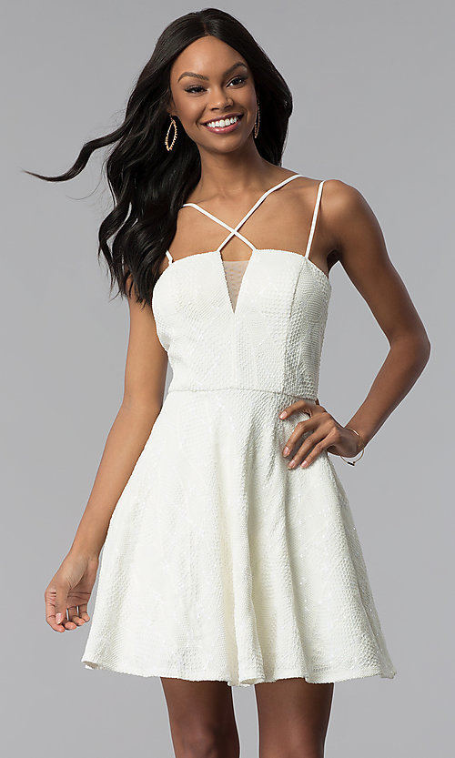 Image of multi-strap short lace graduation party dress. Style: CT-6085HP7AT3 Front Image
