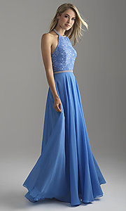 Image of long chiffon halter prom dress with lace bodice. Style: NM-18-621 Detail Image 4