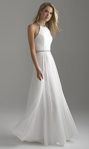 Image of long chiffon halter prom dress with lace bodice. Style: NM-18-621 Detail Image 5