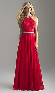 Image of long chiffon halter prom dress with lace bodice. Style: NM-18-621 Detail Image 2