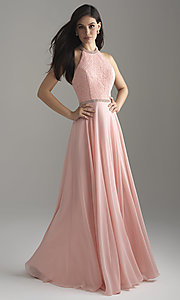 Image of long chiffon halter prom dress with lace bodice. Style: NM-18-621 Detail Image 3