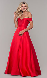 Image of long off-the-shoulder ball gown for prom. Style: DJ-A6251 Front Image