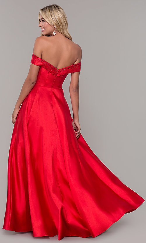 Image of long off-the-shoulder ball gown for prom. Style: DJ-A6251 Back Image