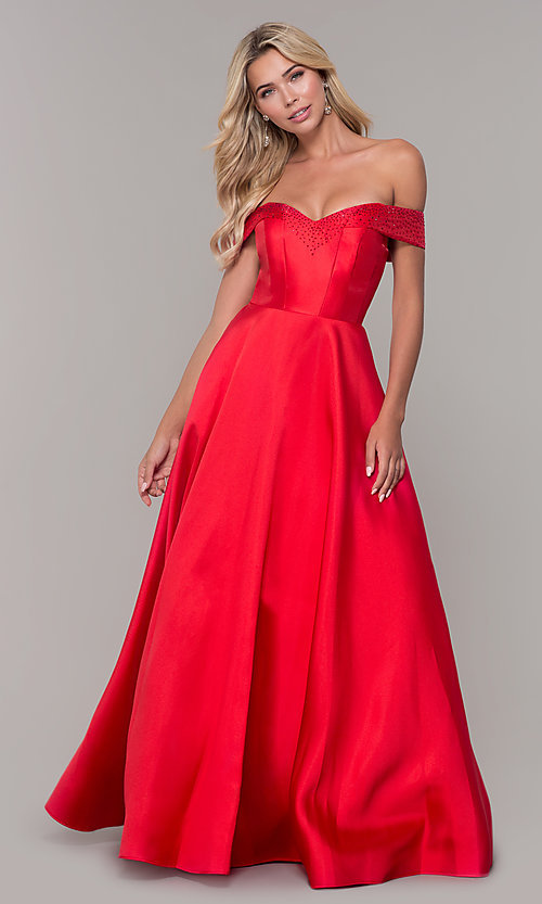 Image of long off-the-shoulder ball gown for prom. Style: DJ-A6251 Detail Image 3