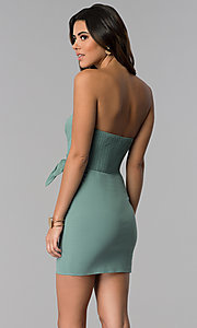 Image of seapine green faux-wrap short strapless party dress. Style: BLU-IBD8885 Back Image