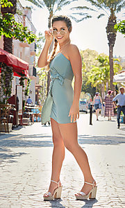 Image of seapine green faux-wrap short strapless party dress. Style: BLU-IBD8885 Front Image