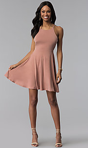 Image of short casual scoop-neck party dress. Style: BLU-BD8975 Detail Image 1