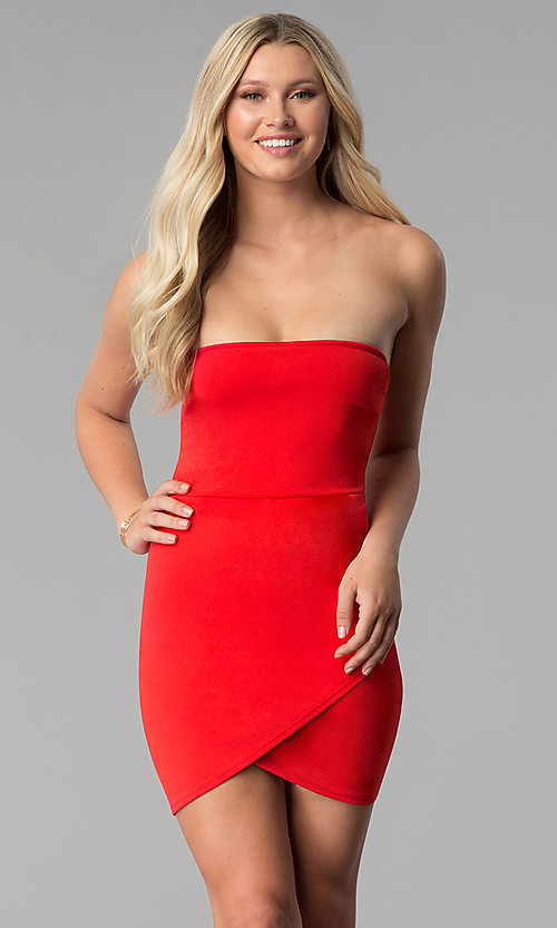 Image of short bodycon strapless tulip-skirt red party dress. Style: BLU-BD8988 Front Image