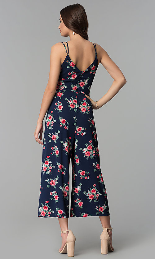 Image of navy blue floral-print cropped jumpsuit for parties. Style: EM-CTO-3710-436 Back Image