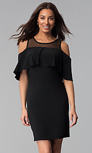 Image of short black cold-shoulder flounce party dress. Style: JU-TI-T0517 Front Image