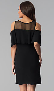 Image of short black cold-shoulder flounce party dress. Style: JU-TI-T0517 Back Image