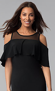 Image of short black cold-shoulder flounce party dress. Style: JU-TI-T0517 Detail Image 1