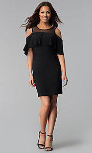Image of short black cold-shoulder flounce party dress. Style: JU-TI-T0517 Detail Image 3