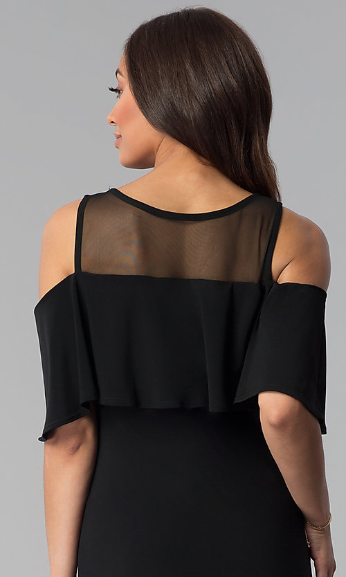 Image of short black cold-shoulder flounce party dress. Style: JU-TI-T0517 Detail Image 2