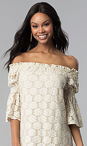 Image of short lace off-the-shoulder shift party dress. Style: BLH-DD1097 Detail Image 1